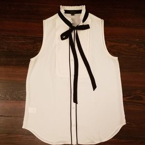Ann Taylor Black and Cream Sleeveless Tie-Neck Top